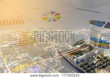 Double exposure of Calculations savings finances and economy concept.