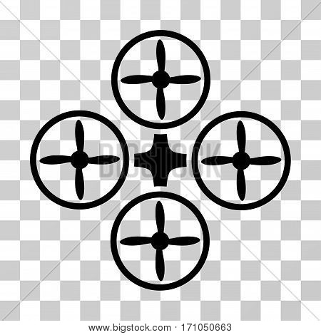 Quadcopter icon. Vector illustration style is flat iconic symbol black color transparent background. Designed for web and software interfaces.