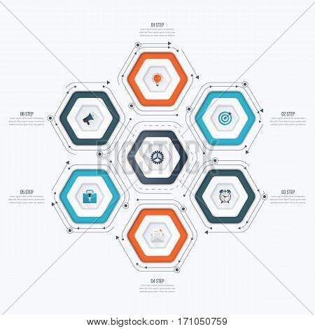 Infographics template 6 options with hexagon. Can be used for workflow layout, diagram, number options, step up options, web design, presentations