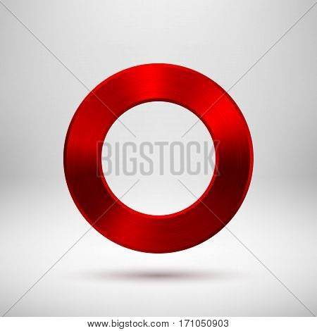 Red metal circle, donut, ring badge, blank button template with metallic texture, chrome, silver, steel, realistic shadow and light background for logo, design concepts, web, apps. Vector illustration
