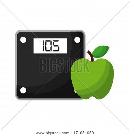 weight scale device  and apple icon over white background. healthy lifestyle concept. colorful design. vector illustration