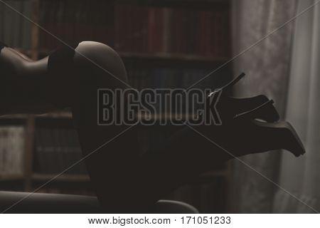 Model Girl In Shadow Underwear