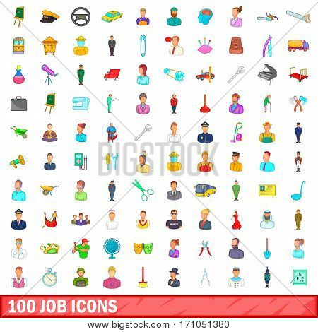100 job icons set in cartoon style for any design vector illustration