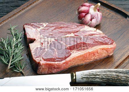 Raw steak t-bone