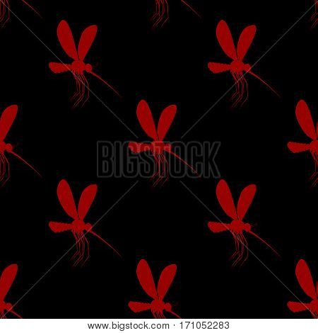 Mosquito Seamless Pattern. Bloodsucking Insects Ornament. Gnat Texture