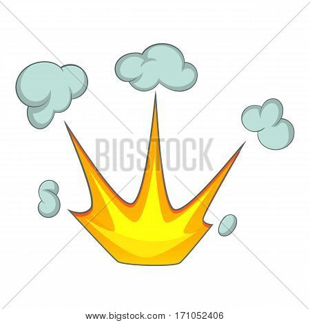 Explode effect with smoke icon. Cartoon illustration of explode effect with smoke vector icon for web