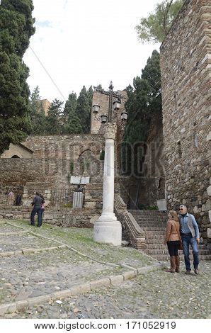 MALAGA,  SPAIN - DECEMBER 8, 2015: Exterior of the Alcazaba a palatial fortification in Malaga, Spain