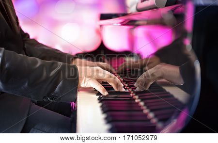 Pianist Playing Jazz Or Blues Music With Grand Piano