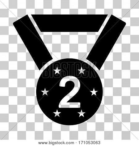 Second Medal icon. Vector illustration style is flat iconic symbol black color transparent background. Designed for web and software interfaces.