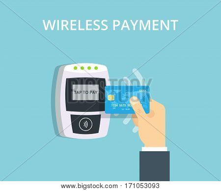 Wireless Payment vector illustration in flat style. Pos terminal confirms contactless payment from credit card.