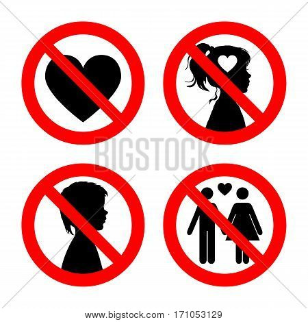 Prohibition sign icons collection, set of vector illustration isolated on white. Red forbidden circle. No love, no girls, no boys, no falling in love.