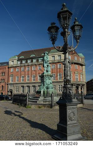 A view of an ornate lamp post and statue in Copenhagen