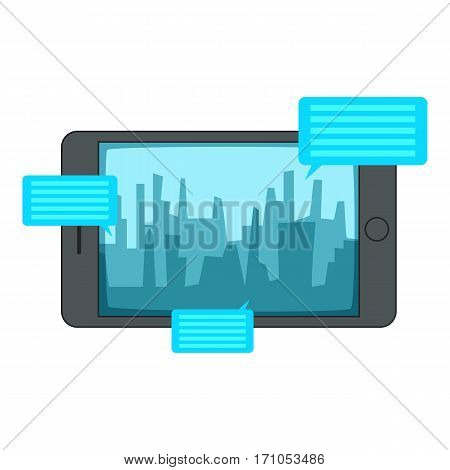 Smartphone with speech bubbles icon. Cartoon illustration of smartphone with speech bubbles vector icon for web