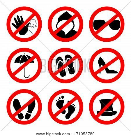 Prohibition sign icons collection, set of vector illustration isolated on white. Red forbidden circle.