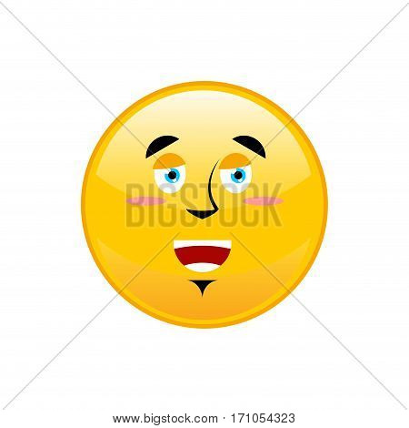 Funny Emoji Isolated. Cheerful Yellow Circle Emotion Isolated
