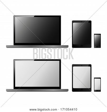 Set of realistic electronic technology devices with empty screen. Laptop, tablet, mobile phone, modern digital gadgets isolated on white background, mockup template. Vector illustration EPS10.
