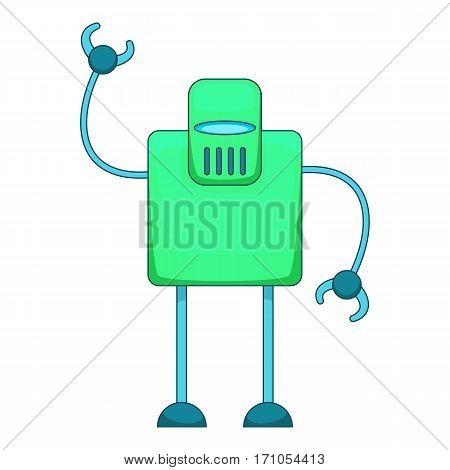 Green retro robot icon. Cartoon illustration of green retro robot vector icon for web