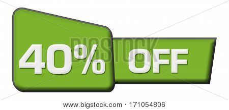 Forty percent off text written over abstract blue background.