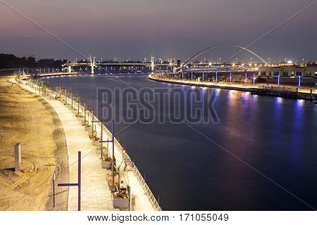 The new Dubai Water Canal at night. United Arab Emirates Middle East