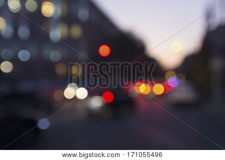 Colored evening lights of the city. Abstract blur