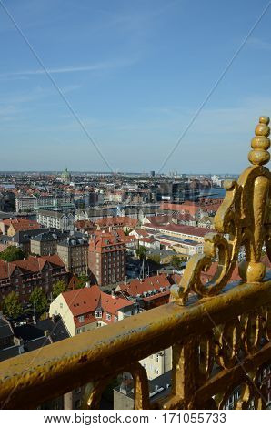 A view from a church tower over Copenhagen