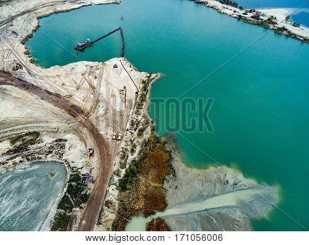 Aerial view - blue water in pond, sandy career