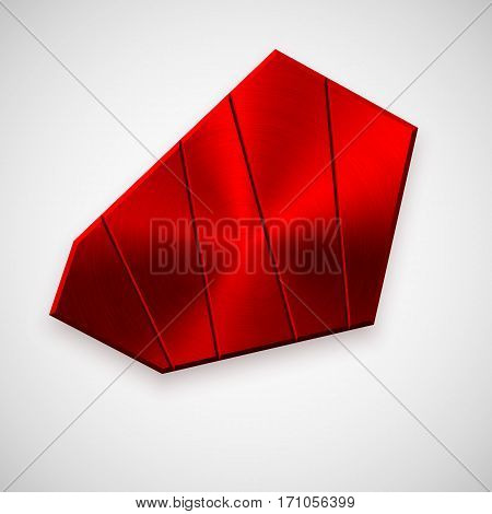 Red metal technology geometric badge, abstract blank button template with brushed texture, chrome, silver, steel and realistic shadow for logo, design concepts, banners, apps. Vector illustration.