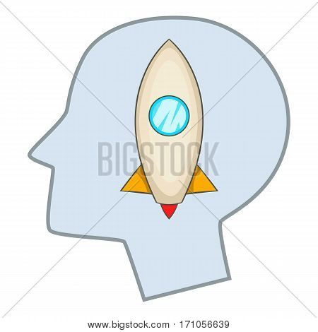 Head silhouette with rocket inside icon. Cartoon illustration of head silhouette with rocket inside vector icon for web