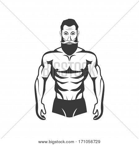 Bodybuilder Fitness Model Illustration. Aesthetic body. gym