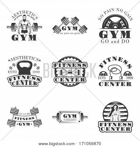 Fitness and bodybuilding set of vector vintage emblems, labels, badges and logos in monochrome style on white background. Fitness center, gym, fitness gym, aesthetics design elements