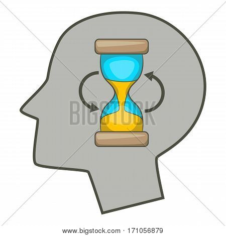 Hourglass inside human head icon. Cartoon illustration of hourglass inside human head vector icon for web