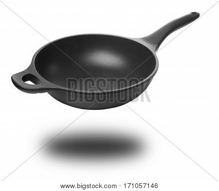 Pan with shadow, angle view. Isolated on white background