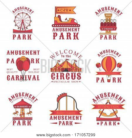 Set of amusement park logos, emblems, labels and badges. Set of vector templates isolated on white background. Amusement park, carnival, attraction design elements