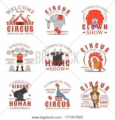 Set of circus logos, emblems, labels and badges. Set of vector templates isolated on white background. Amazing show, strong man, animals show, magic show, human cannonball, clown show design elements. colorful