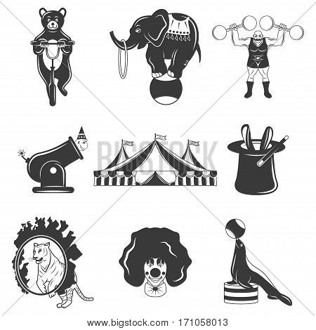 Set of circus monochrome icons, design elements isolated on white background. Flat style. amazing show