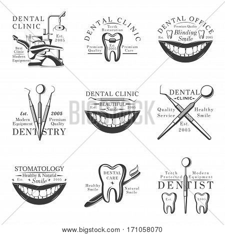 Set of dental logos, emblems, labels and badges. Set of vector templates isolated on white background. Dental clinic, dental care, stomatology, dental office, dentist design elements.