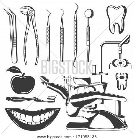 Set of dental monochrome icons, design elements isolated on white background. Dental tools and dental care tools care. dentist professional
