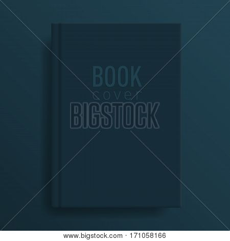Book cover mockup. Deep indigo colour. Blank template Idea for diary or textbook cover. Design for school or educational institution. Vector illustration art.