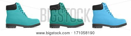 Three multicolored boot. Side view. Isolated on white background
