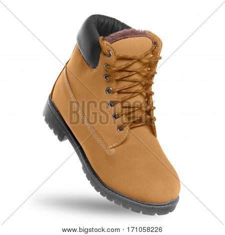 Brown boot. Angle view. Isolated on white background