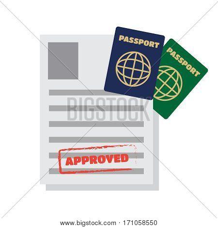 Visa stamping. Passport or visa application. Travel vector