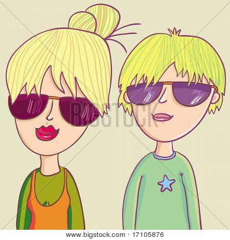 Modern teenagers in cartoon style
