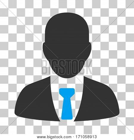 Businessman icon. Vector illustration style is flat iconic bicolor symbol blue and gray colors transparent background. Designed for web and software interfaces.