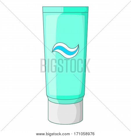 Toothpaste in blue tube icon. Cartoon illustration of toothpaste in blue tube vector icon for web