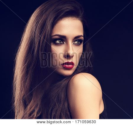 Beautiful Makeup Expressive Female Model Profile With Red Lipstick And Long Eyelashes Looking Sexy O
