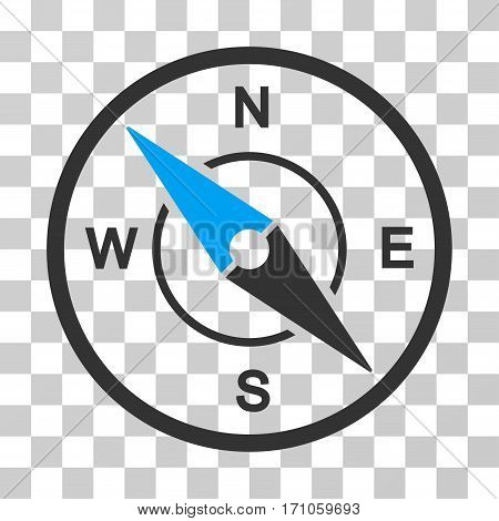 Compass icon. Vector illustration style is flat iconic bicolor symbol blue and gray colors transparent background. Designed for web and software interfaces.