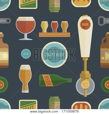 Seamless pattern with craft beer. Differens beer elements include bottles, glasses, keg, can and bottle opener for bar, pub, home brewery, alcohol store. vector illustration art in flat style.