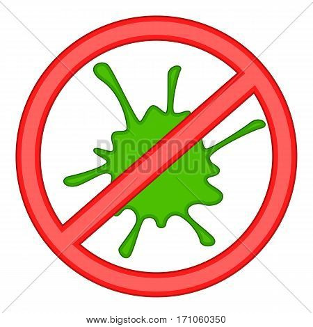 Red prohibition sign and green slime icon. Cartoon illustration of red prohibition sign and green slime vector icon for web