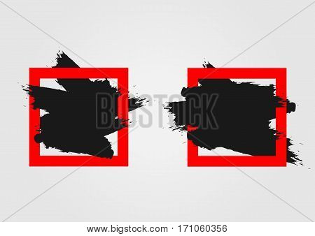 Ragged brush strokes in square frames. Grunge. Set of two elements. Black red.