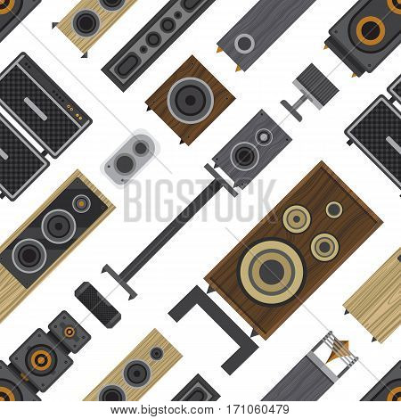 Seamless pattern of different stereo acoustic systems. Speaker systems for listening high definition audio. Amplified monitors and subwoofers. Small computer speakers and high end loudspeakers.